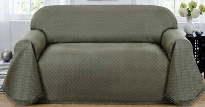 Extra Long Sofa Couch Cover Grey Green