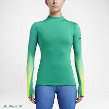 Nike Pro Hyperwarm Women's Long Sleeve Training Top M Green Volt Gym Running New