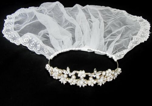 NIB GIRLS WHITE TULLE VEIL FIRST COMMUNION FLOWER GIRL PEARL DIAMOND TIARA CROWN