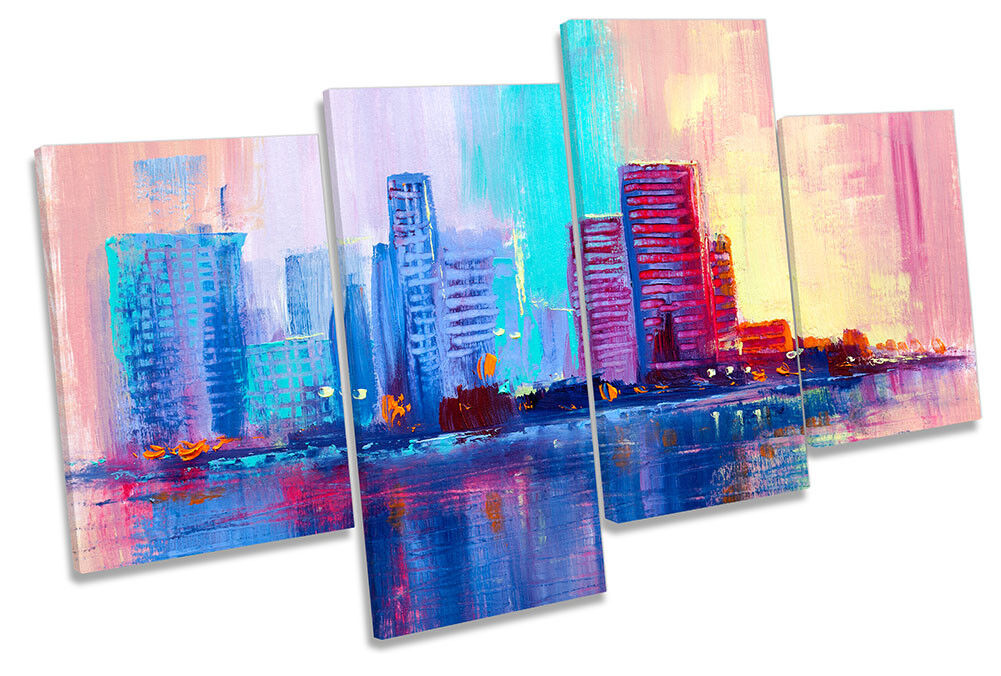 City Skyline Buildings Repro MULTI CANVAS WALL ARTWORK Print Art