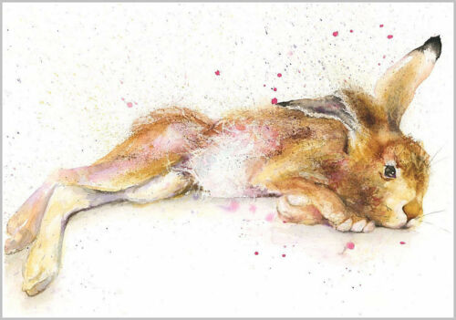 Fine Art Print of SLEEPY HARE watercolour by HELEN APRIL ROSE   557
