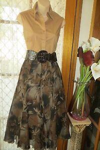 VINTAGE-Style-50-039-S-Camel-Browns-Godet-Pleats-SKIRT-BELT-COMBO-Sz-S-REDUCED