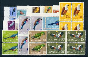 UGANDA-1965-DEFINITIVES-SG113-126-BLOCKS-OF-4-MNH