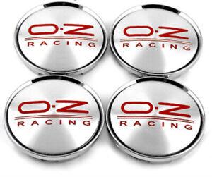 4-x-63mm-OZ-Racing-M595-Silber-Rot-Nabenkappen-Nabendeckel-Satz