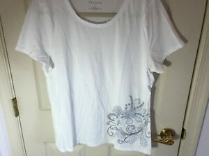 Woman-s-Talbots-size-XL-white-embellished-short-sleeve-cotton-top