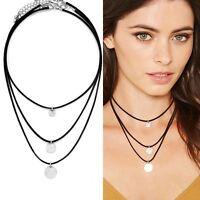 Damen Vintage Halsband Kropfband Choker Leder Collier Halskette Gothic Schmuck