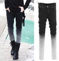 Mens Pants Trousers Slim Fit Pencil Denim Punk Skinny Leisure Jeans gradient New