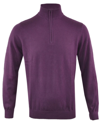 XXL Mens Knitted Cotton Cashmere Mix Long Sleeve Plain 1//4 Zip Funnel Top M