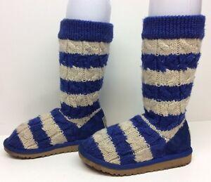 #6 GIRLS UGG AUSTRALIA WINTER CROCHET WHITE/BLUE BOOTS SIZE ?
