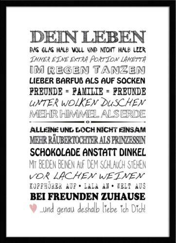artissimo Spruch-Bild gerahmt 51x71cm Poster Kunstdruck Wandbild Bild mit Spruch
