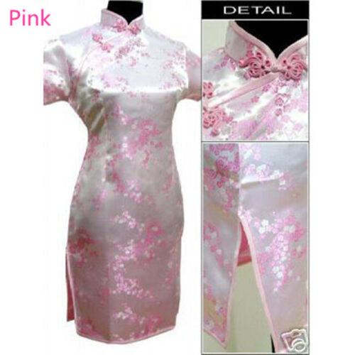 Chinese Women Floral Mini Cheongsam Qipao Silk Brocade Slim Dress Wedding Party