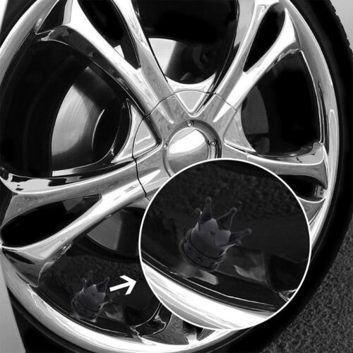 Black Crown Tire Wheel Stem Air Valve Caps ATV Car Truck Hot Rod Motorcycle 1Pcs