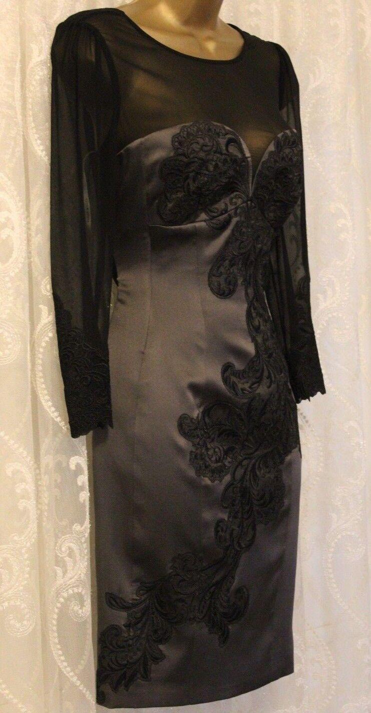 Karen Millen schwarz schwarz schwarz Embroiderot Floral Lace Party Body Contouring Dress UK 10 38 98dc05