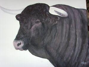 Tableau-TORO-TAUREAU-ESPAGNE-CAMARGUE-NADINE-PETRY-peinture-acrylique-toile