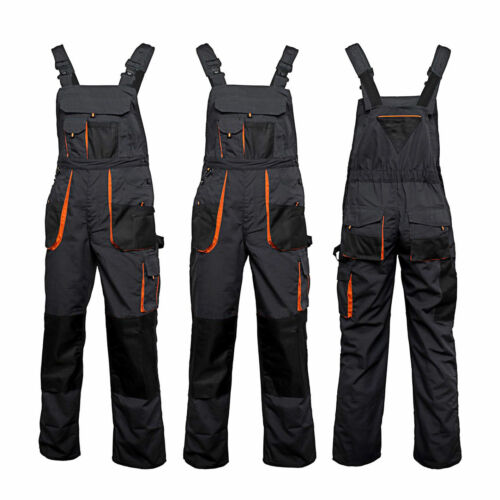 Bib and Brace Overalls Heavy Duty Work Trousers Dungaress Knee Pad Pockets