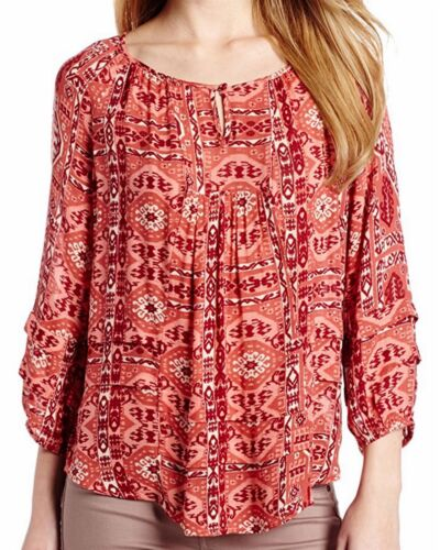 Blouse Ikat Lucky Nieuw Brand Graphic 79 Shirt Printed Red Top Women's Canyon SYqYCz