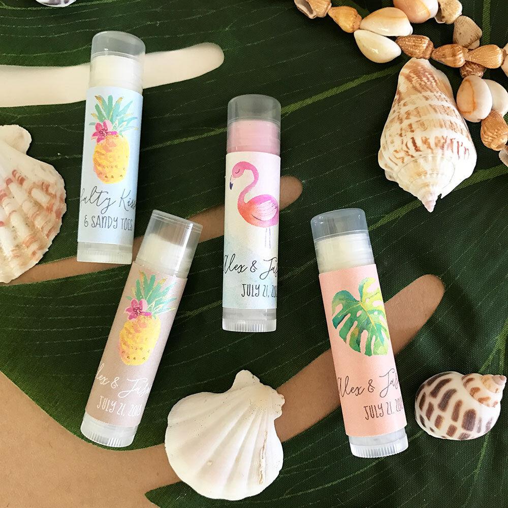 72 Personnalisé Plage tropicale à thème parfumé BAUME à Lèvres Tubes Mariage faveurs