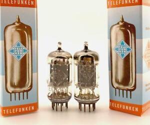 2-x-ECC83-12AX7-Telefunken-Berlin-smooth-plates-Made-in-West-Germany