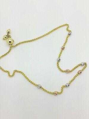 14k Solid Yellow Gold Color Diamond Cut Round Bead Adjustable Wheat Bracelet