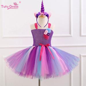 Kids Girls Unicorn Party Tutu Dress Sleeveless Princess Birthday Dress ZG9