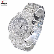 Men's Fashion Analog Stainless Steel Iced Out Heavy Metal Band Watches WM 7341 S