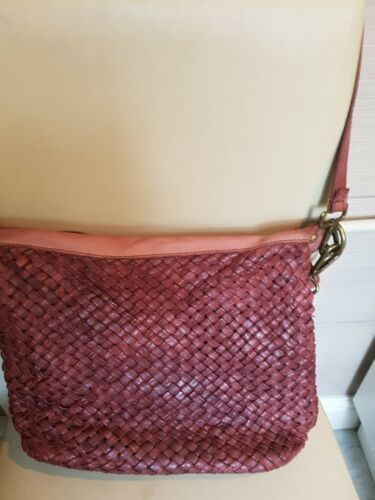 burgendy weave leather bag