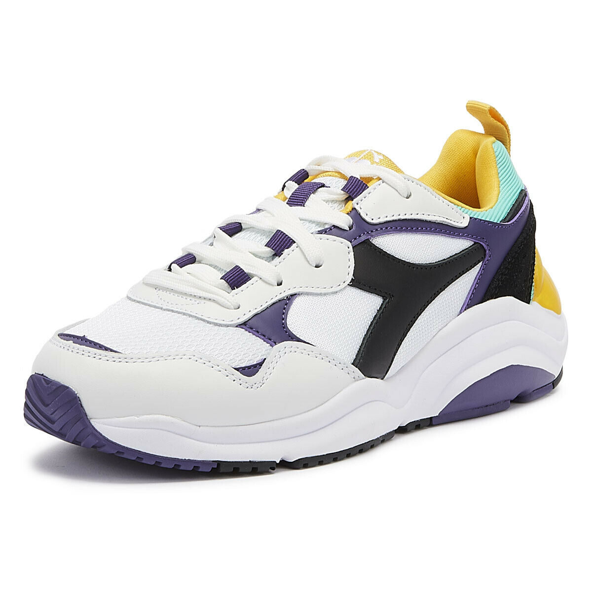 Diadora Whizz Run Mens White   Purple Trainers Lace Up Sport Casual shoes