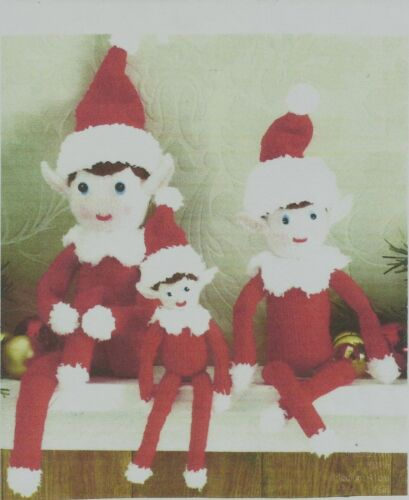 KNITTING PATTERN CHRISTMAS  ELVES  DOLL TOY SIZES 27cm 41cm /& 52cm  DK WOOL