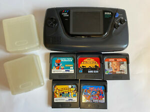 Sega Game Gear Handheld Console - Working - X5 Games Bundle and 4x Game Cases