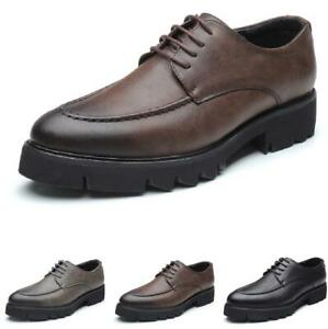 Mens-Oxfords-Round-Toe-Platform-Shoes-Lace-Up-Dress-Formal-Business-Breathable
