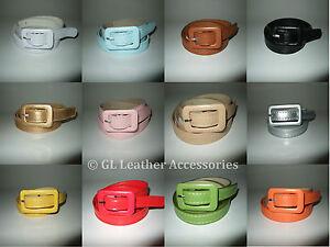 Ladies Women's Skinny Thin Faux Leather Waist Buckle Belt