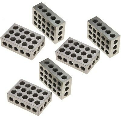 """3 Pair (6) 1-2-3 Block Set 0.0001"""" Precision Matched Mill Machinist 123 23 Holes"""