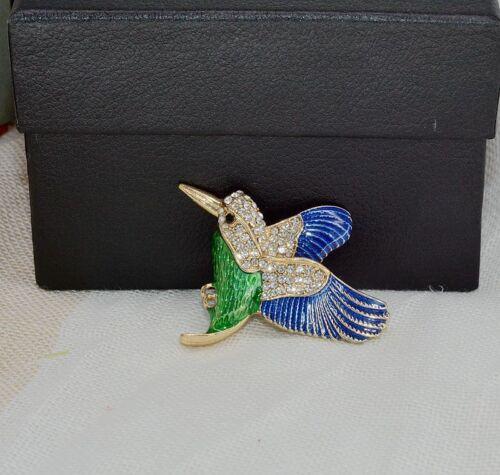 Broche Doré Oiseau Email Vert Bleu Cristal Magnetique Original XZ6
