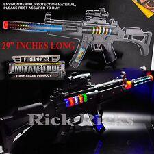BIG Light Up Assault Rifle Machine Gun Toy Kids Moving Barrel LED Tommy Pistol