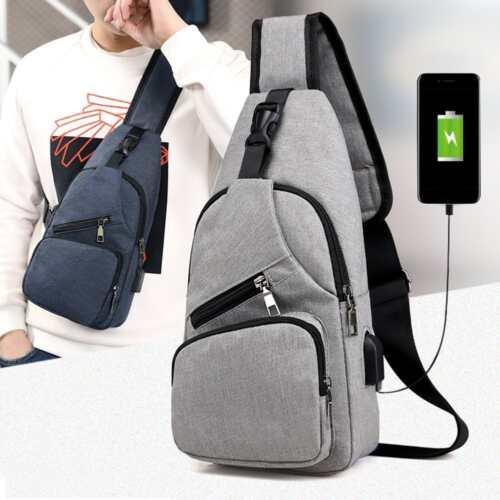 Men's Shoulder Bag Sling Chest Pack Canvas USB Charging Spor