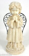 """Angel Figurine 12"""" Inches Tall - Praying Hands - Wound Iron Wings - Polyresin"""