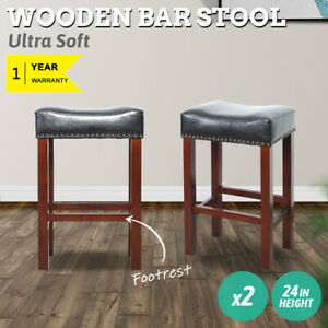 """24"""" PU Leather Padded Seat Heavy Duty Kitchen Dining Bar Stool Chair Set of 2 US"""