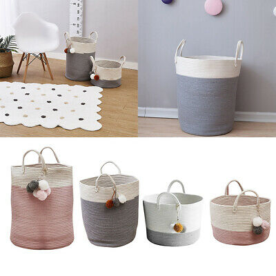 Foldable Laundry Hamper Storage Basket Kid Toy Woven Dirty Wash Clothes Bag Bin