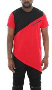 Imperious-Men-039-s-Colorblock-Asymmetric-Hem-Side-Zipper-Longline-T-Shirt