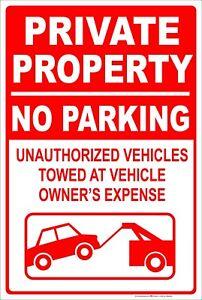 Private-Property-No-Parking-Tow-Away-8-034-x-12-034-Aluminum-Metal-Sign