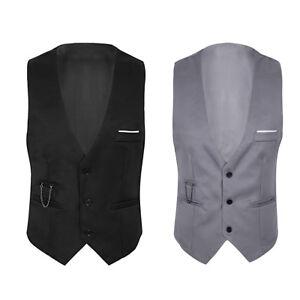 Herren Weste Top V Ausschnitt Anzug Waistcoats Sakko Geschäftsweste Anzugweste
