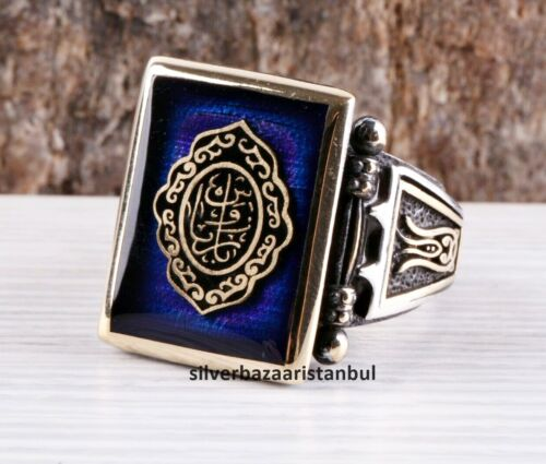 Details about  /Turkish jewelry 925 Sterling Silver blue sapphire İslamic Mens ring ALL SİZE USA