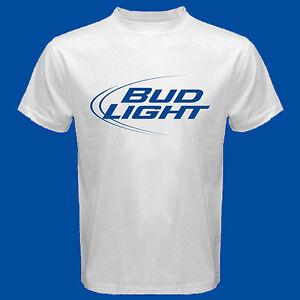 Details about new Bud Light Logo Men's White T Shirt Size S M L XL 2XL 3XL