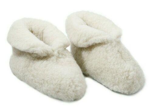 WOMEN MEN 100/% OFF WHITE  SHEEP WOOL BOOTS HOUSE SLIPPERS  SHEEPSKIN SUEDE SOLE
