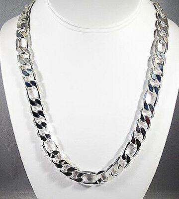 MENS 4MM STERLING SILVER FINISH PREMIUM QUALITY FIGARO LINK CHAIN NECKLACE