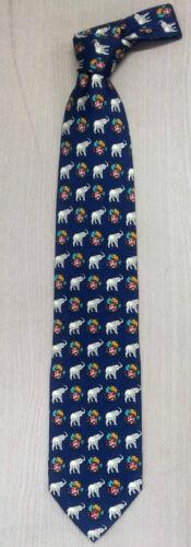 La Corée Cravate en soie Saint Mignon Éléphant motif bleu haute qualité