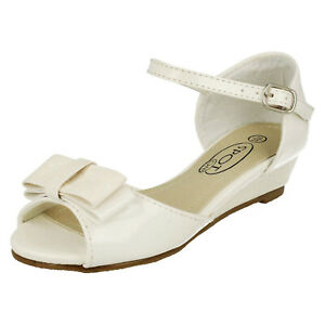 GIRLS KIDS WHITE PEEP-TOE PARTY SHOES