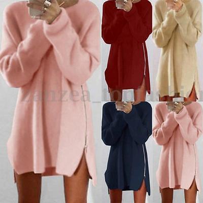 ZANZEA Women Long Sleeve Zip Up Sweaters Pullover Casual Long Shirt Dress Plus