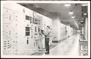 GRAND COULEE DAM WA Turbine & Generator Control Boards Vtg RPPC Postcard Old