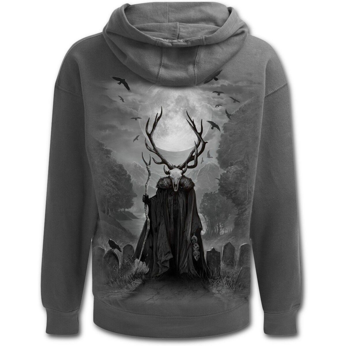 Spiral Direct HORNED SPIRIT grau Hoodie/Native/Spirit/Goth/Wild/Biker/Skull/Hood